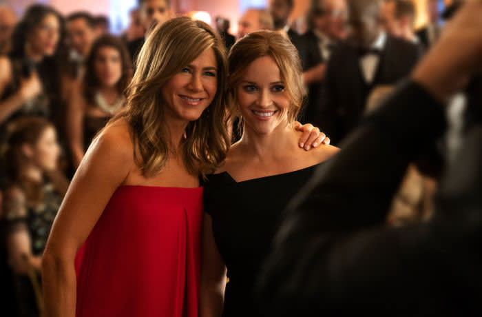 "Jennifer Aniston and Reese Witherspoon in ""The Morning Show,"" premiering November 1 on Apple TV+"