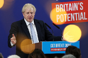 Boris Johnson speaking to an audience at Healey's Cornish Cyder Farm, in Callestick, Cornwall