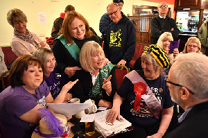 Jeremy Corbyn speaks to campaigners fromWomen Against State Pension Inequality at an event in Derbyshire