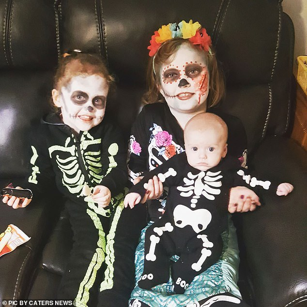 Abbie called Max 'Luna' for a while because she was confused. The siblings are pictured at Halloween this year