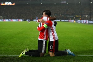 Luis Sinisterra (left) celebrates with teammate Steven Berghuis after getting Feyenoord back on level pegging.