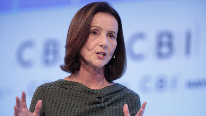 Carolyn Fairbairn, director-general of the Confederation of British Industry (CBI), gestures as she speaks at the CBI 2019 Annual Conference in London, U.K., on Monday, Nov. 18, 2019. Both U.K. Prime Minister Boris Johnson and Labour leader Jeremy Corbynwill addresstheConfederationofBritishIndustryconference in London Monday Photographer: Jason Alden/Bloomberg