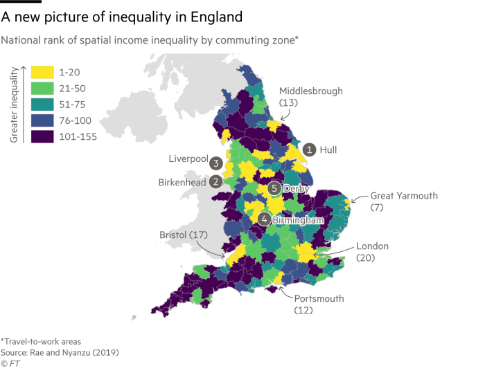 A map of spatial inequality in England. The areas with greatest inequality are generally in the midlands and the north