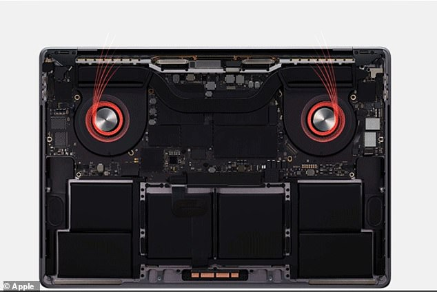 The MacBook Pro has been designed with an advanced thermal architecture (pictured) that allows the system to run at higher power for a longer period of time.The design boasts extended blades along with larger air vents that result in a 28 percent increase in airflow