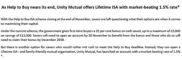 An email sent to This is Money advertised the new Lifetime Isa, clearly comparing the rate of 1.5% offered on it to cash savings Lifetime Isa products