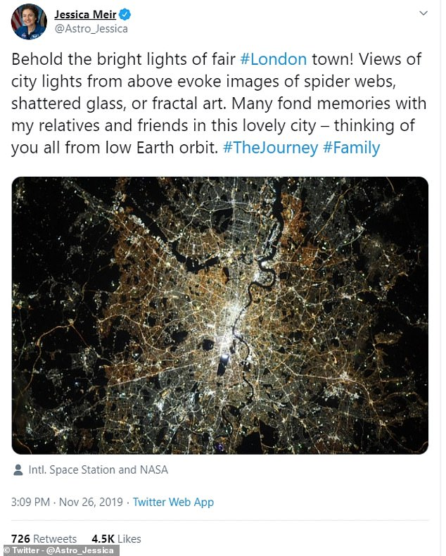 Dr Jessica Meir described London under streetlights as looking like a piece of fractal art in her Tweet showing the picture she had taken from space