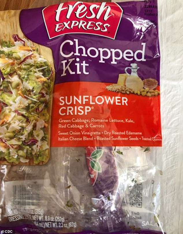 The CDC says eight people have contracted E. coli in three states from a pre-packaged salad kit (pictured) while the FDA announced a recall of a pre-cut fruit salad mix that sickened 33 with salmonella
