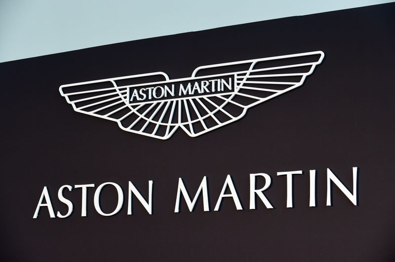 © Reuters. An Aston Martin logo is pictured at the new factory in Saint Athan