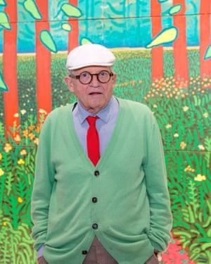 David Hockney with one of his East Yorkshire canvases at the Centre Pompidou, Paris.