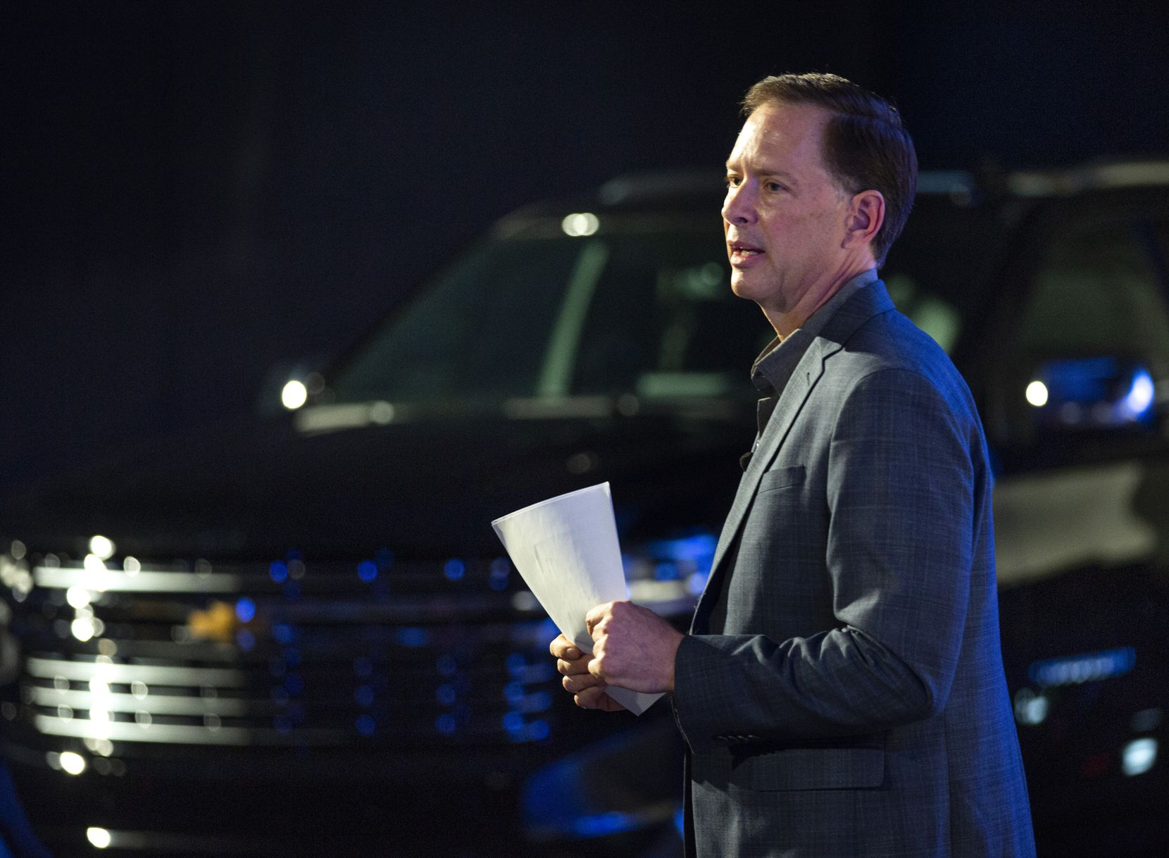 Plant executive director Bill Kulhanek stands before the new Chevrolet Suburban during the unveiling event of the next-generation models of the Chevy Suburban and Tahoe at the General Motors Assembly Plant in Arlington, Texas, on Tuesday, Dec. 10, 2019. (Lynda M. Gonzalez/The Dallas Morning News) ORG XMIT: 20048667B