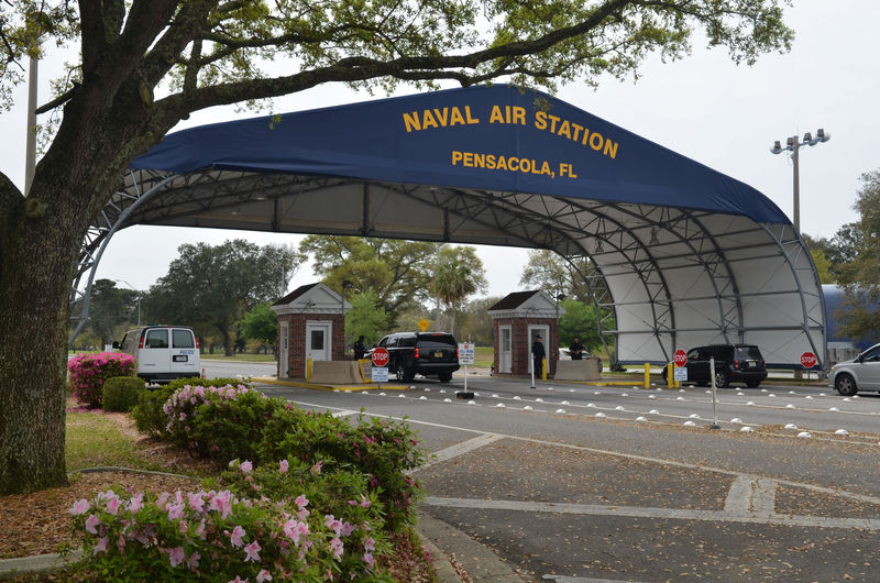 © Reuters. FILE PHOTO: Main gate at Naval Air Station Pensacola is seen on Navy Boulevard in Pensacola