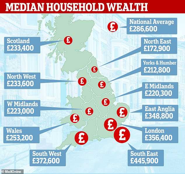 Mapped: Median household wealth by region, according to figures from the ONS