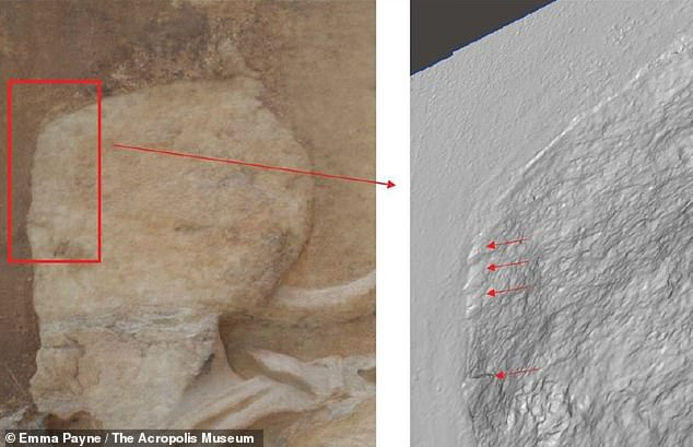 Among the lost features were the faces of some of the marble figures — with Dr Payne's analysis revealing tool marks on some of the remaining marbles (left, and close-up on the 3D model, right) that suggests vandalism was to account for the damage