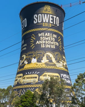 Mural on one of the Orlando Towers, the cooliing towers of a decommissioned power station, Soweto, Johannesburg, South Africa