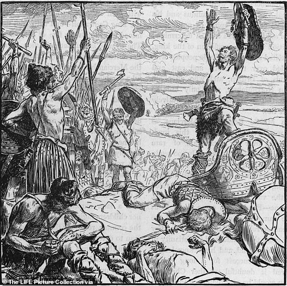 The troops of King Cadwallon of Gwynedd raise their spears and rejoice at the death of King Edwin in 633AD.He was defeated during the Battle of Hatfield Chase and left Ethelburga widowed
