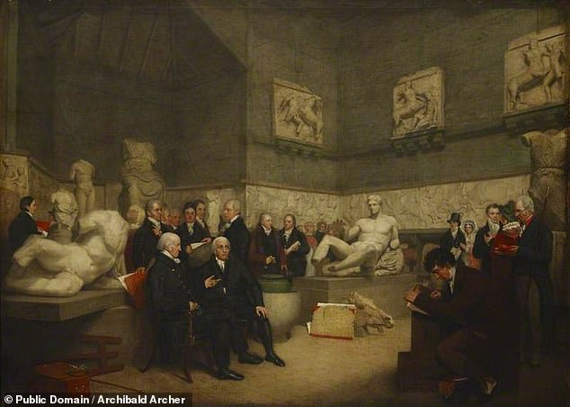 Lord Elgin controversially arranged for the removal of many of the marbles' panels to his London home, ostensibly to protect them from neglect and damage. Pictured, an 1819 painting depicts — albeit in an idealised fashion — the temporary Elgin room set up in the British Museum to display the marbles that Elgin controversially took from Athens