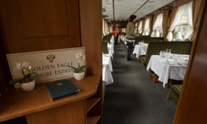 First class service: a dining car on the Golden Eagle Danube Express in Budapest, Hungary.