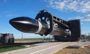 A rocket prepares for launch at Rocketlab's Mahia peninsula Launch Complex 1 on the North Island of New Zealand,