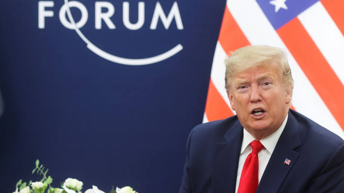 U.S. President Donald Trump talks during a bilateral meeting with Iraqi President Barham Salih (not pictured) at the 50th World Economic Forum (WEF) annual meeting in Davos, Switzerland, January 22, 2020. REUTERS/Jonathan Ernst