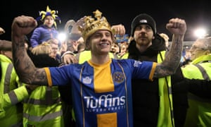 FA Cup Fourth Round - Shrewsbury Town v Liverpool<br>Soccer Football - FA Cup Fourth Round - Shrewsbury Town v Liverpool - Montgomery Waters Meadow, Shrewsbury, Britain - January 26, 2020  Shrewsbury Town's Jason Cummings wears a crown after the match    Action Images via Reuters/Carl Recine     TPX IMAGES OF THE DAY