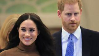 The Duke and Duchess of Sussex pictured shortly after they announced they would step back as senior royals