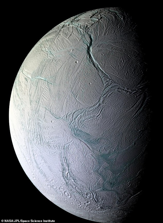 NASA's Cassini captured this stunning mosaic as the spacecraft sped away from this geologically active moon of Saturn, Enceladus