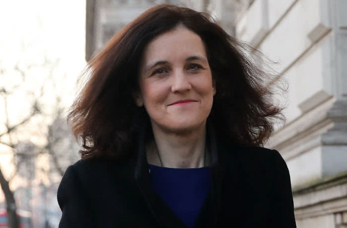 Britain's Environment, Food and Rural Affairs Secretary Theresa Villiers walks along Whitehall towards Downing Street in central London on February 6, 2020, to attend a meeting of the cabinet. (Photo by ISABEL INFANTES / AFP) (Photo by ISABEL INFANTES/AFP via Getty Images)