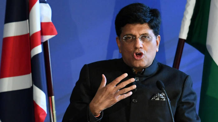 LONDON, ENGLAND - JULY 15: Piyush Ved Prakash Goyal, the Indian Government minister of Railways and Commerce speaking at an India-UK Joint Economic and Trade Committee on July 15, 2019 in London, England. (Photo by Stefan Rousseau - WPA Pool/Getty Images)