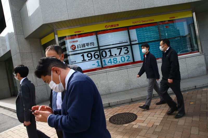 © Reuters. People wearing protective face masks are seen near an electronic display showing the Nikkei index  outside a brokerage in Tokyo