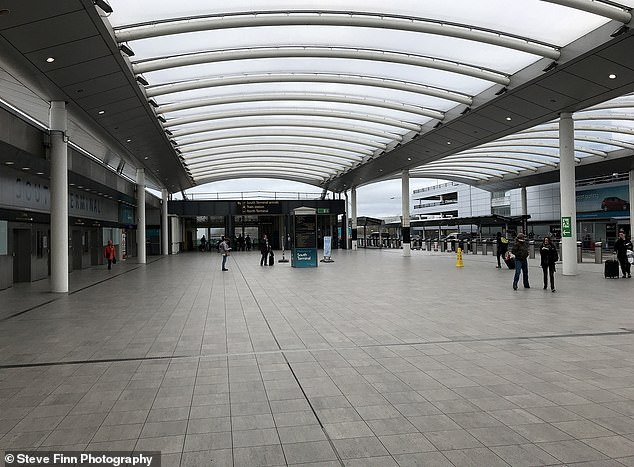 An empty terminal at Gatwick Airport yesterday, as airlines were hammered by a catastrophic drop in demand