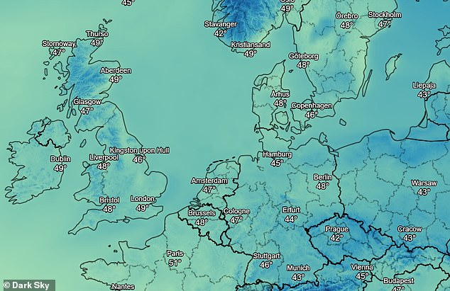 Dark Sky's website also provides a world map with real-time weather updates including temperature
