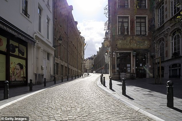 Due to the containment, the 'Rue de l'Ã¿tuve' is seen empty on March 29, 2020 in Brussels, Belgium