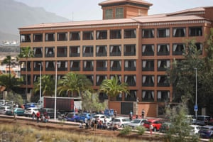 The Costa Adeje Palace Hotel in La Caleta, Tenerife, where hundreds of people were quarantined in February.