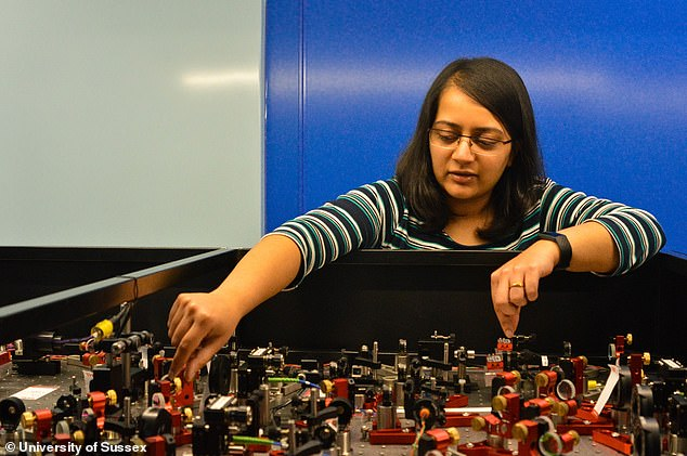 Dr Gadge setting up the lasers that control the atoms at the university's quantum lab prior to lockdown