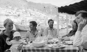 From left: Marianne Jensen with her son, Axel, Leonard Cohen, an unidentified friend, and married authors George Johnston and Charmian Clift.